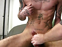 As that guy starts to feel a heavy cum blast this guy leans back on the ottoman as Mr. Hand proceeds to beat his meat and makes him erupt a enormous c