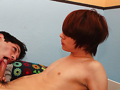 After rimming him, Aiden shoves his dong up Kyler's lube-slick fuck hole bareback first time gay teens