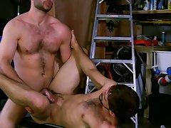 Hairy hung men jacking off and cumming and gay boy sex videos kissing at My Gay Boss