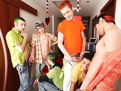 Male group masterbation and gay...