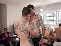 Guy group sex and male masturbation group at Sausage Party