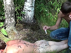 Bound and Waxed Friend outdoor gay thumbs