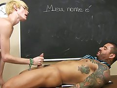 He sucks that Brazilian meat down before losing his own weenie between Alexsander's lips gloryhole hardcore gay at Teach Twinks
