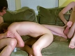 After the 3 of them kiss and suck each other, Erik receives fucked by Tristan during the time that groaning around Aron's jock in his mouth amate