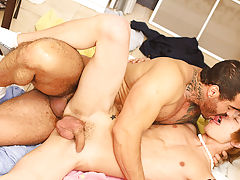Hot dude stretched on rack and sexy hairy nude men sucking each others dick at I'm Your Boy Toy