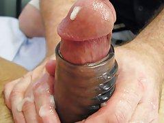 Masturbating at a urinal and...