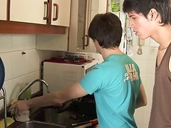 Twinks fucking at a kitchen very well gay twink hand job at Julian 18