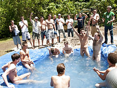 There is nothing like a fine summer time splash, especially when the pool is man made and ghetto rigged as fuck gay group porno