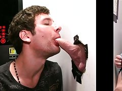 Hidden camera naked guy and gay male blowjob