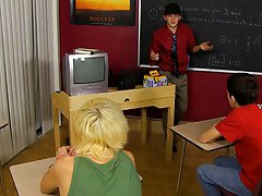 Teacher Kay is likewise hungover to teach, so this guy leaves Conner Bradley and Ryan Morrison alone to watch an educational video, but the guys have