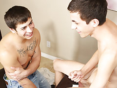 After getting each other's cocks wet, Conner is ready to sit on Julian's hard penis and ride it hairy twink gay asses at Teach Twinks