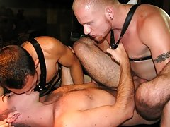 So much so one of the butch studs thinks he might like to take a bit of hard cock up his ass too gay muscle men group sex at Backroomfuckers