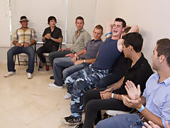 Group gay blowjob and male group...