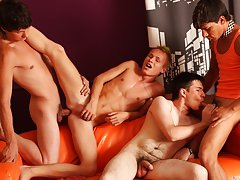 Group sex lucky guy and gay porn group ass fucking at Crazy Party Boys