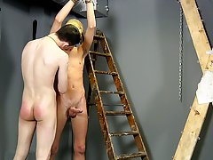 Young boy milking prostate and...