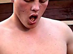Sitting on a bench at the back of the cottage, three cock eating jocks are going at each other's dicks and nuts outdoor gay orgies