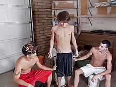 Wow three bi boys in one pump full of lead gay group at Broke College Boys!