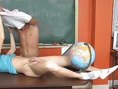 Kalob gets a blowjob from the TA and then Skyelr bends him floor the desk and slips his cock in the tight hole male first masturbation at Teach Twinks