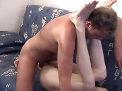 One thing led to another, and soon they were both naked, the hunk using his saliva as lube for the tight twink ass mature gay couples