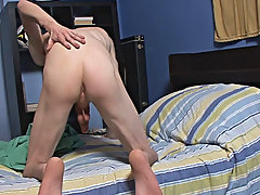 As he gets close to busting he uses two hands to jack his cock and splatters a gooey load of dripping CuM all over his index and pubes guy masturbatio