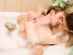 Jacob and Timmy fucking nice young guys making sex first time in bath nude and wet men at Bo