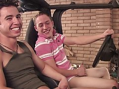 Chris seems to like that idea and he goes down on Ricki's cock sucking, and stroking at the same time first time gay sex tips at Broke College Bo