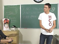 Caleb leans against the teacher's desk and lets Ashton suck on his throbbing dick free gay mature vs twink at Teach Twinks