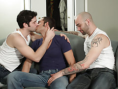 Adam thought he'd had some huge cocks before, but when salacious Sam and joltin' Johnny Maverick pull out their sack-packing pythons, Adam s