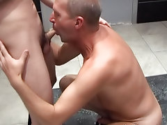 They kept exchanging oral favors until the geezer grabbed the twink butt and really fucked the boy into the locker mature men penis
