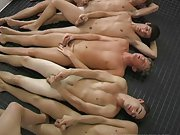 They're all completely naked, confident, and muscular gay male first tim