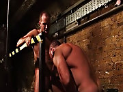 Stubbly Dane services Trojans protruding cock from his zippered jockstrap to come he drops it all and fucks his mates go up against, giving him cock a