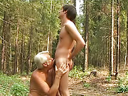 Deep forest fellow and old man shafting outdoor gay nudists
